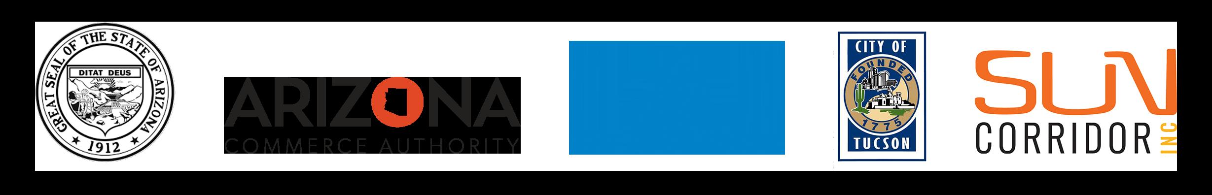 Logos of the State of Arizona, Arizona Commerce Authority, Pima County, City of Tucson, and Sun Corridor Inc.